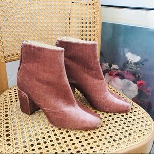 Blush Colored Velour Ankle Boots